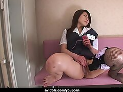 Rubbing on her pussy then blowjob a big cock