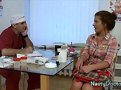 Nasty mature doc deflowers a delicious teenie