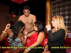 Women Encouraging Each Other to Suck Male Strippers