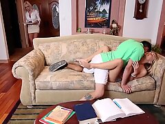 Tattooed milf and teen engage in hot threesome with horny guy