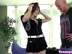 Cosplay loving tgirl cums after being banged