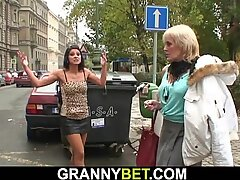70 years old blonde prostitute rides his young cock