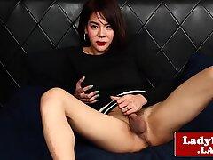 Busty ladyboy wanks off until she cums
