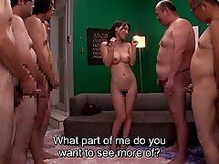 JAV milf Kaho Kasumi striptease for group of men Subtitled