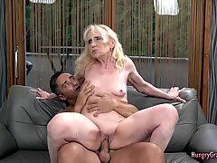 Dirty grandma riding hard cock