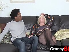 Granny enjoys a anal fucking with a 18-years-old black grandson